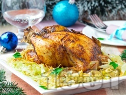 Коледно пълнено пиле с ориз и гъби - снимка на рецептата
